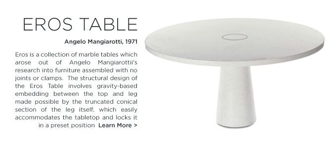Eros table Angelo Mangiarotti white carrara marble circular table conical base modern italian dining table