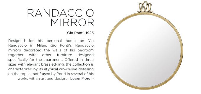 Gio Ponti Randaccio mirror GUBI modern brass round circule mirrors