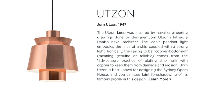 Jorn Utzon pendant lamp copper andtradition &Tradition modern metallic lighting