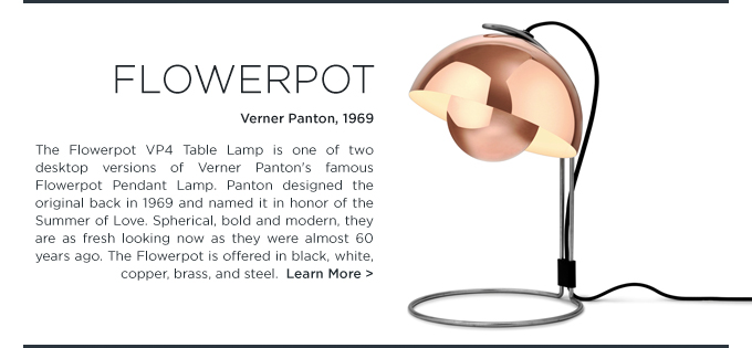 Verner Panton Flowerpot table lamp copper 1969 midcentury iconic lighting &tradition andtraditon