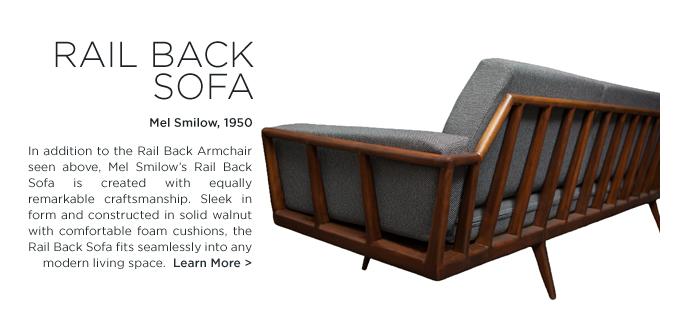 rail back sofa walnut smilow design mel smilow suite ny