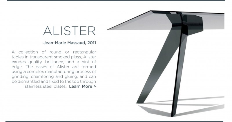 Alister dining table smoked glass glas italia jean marie massaud black glass rectangular