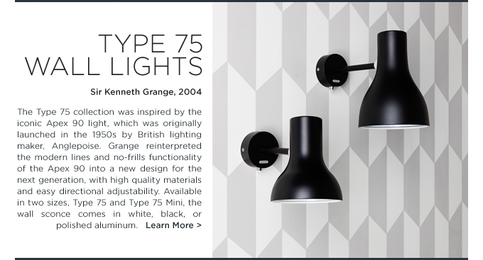 Anglepoise Type 75 wall light black modern sconce sir kenneth grange suiteny wall light