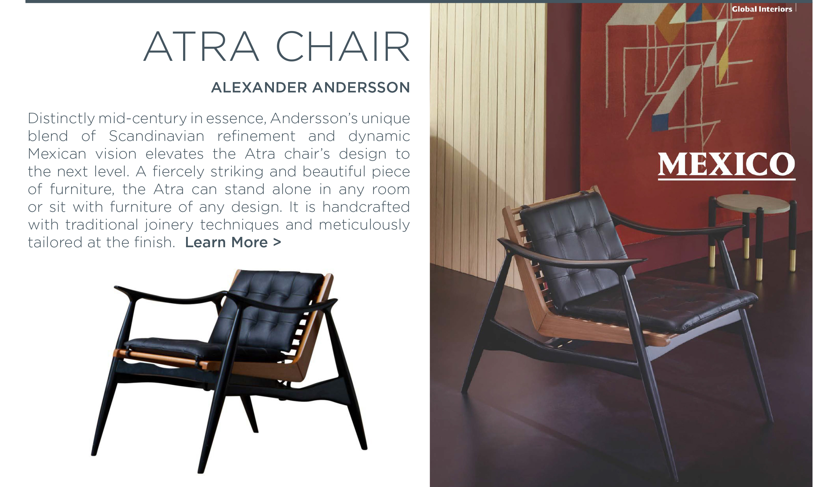 Atra chair alexander andersson luteca scandinavian mexican mid century designer furniture suite new york