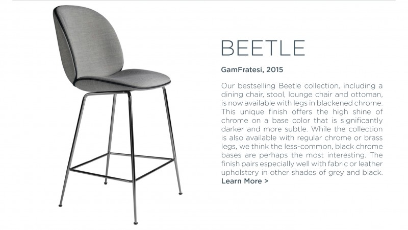 Beetle dining stool GUBI gamfratesi suite ny graphite charcoal metallic black legs barstool grey