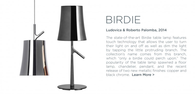 Birdie table lamp foscarini metallic black chrome ludovica palomba shiny pendant light