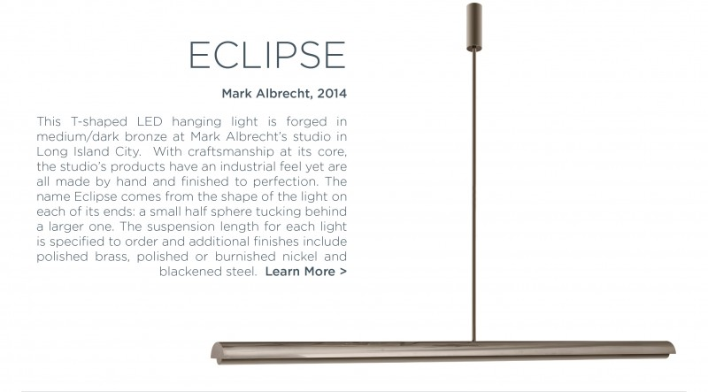 Eclipse hanging t-shaped LED light chandelier mark albrecht american lighting design steel grey graphite