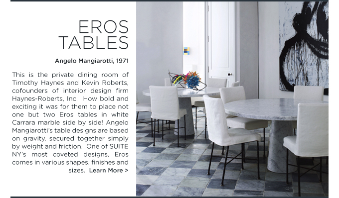 Eros dining table angelo mangiarotti agapecasa suiteny carrara marble round double dining room haynes roberts