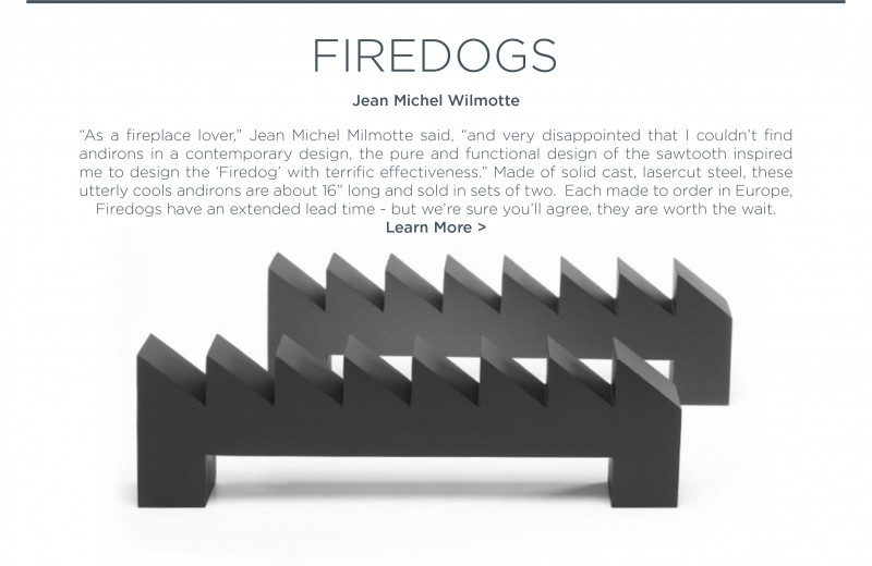 Firedog modern andirons cast steel jean michel wilmotte when objects work fire irons