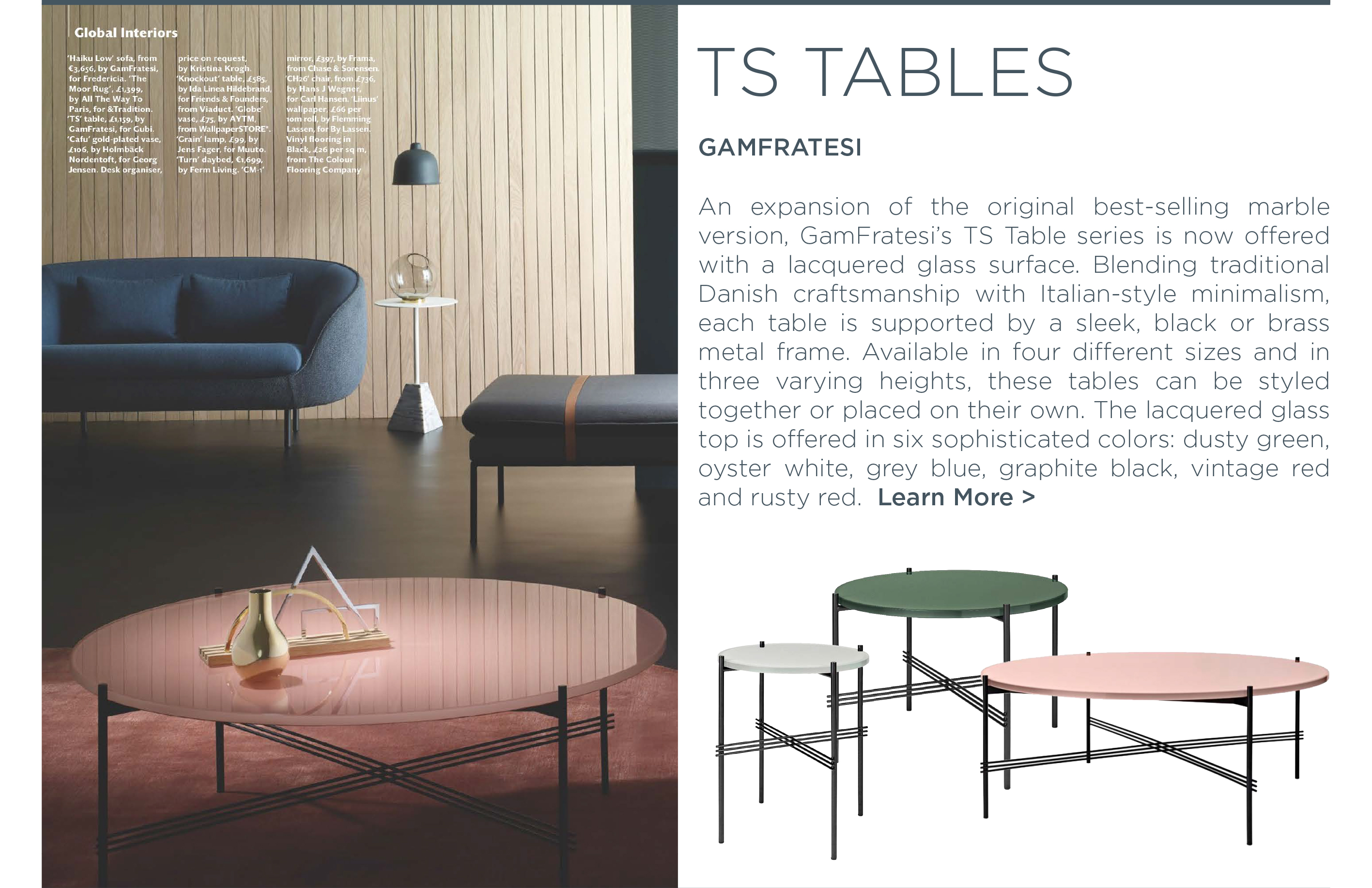Glass TS table series gamfratesi gubi danish designer furniture suite ny new york