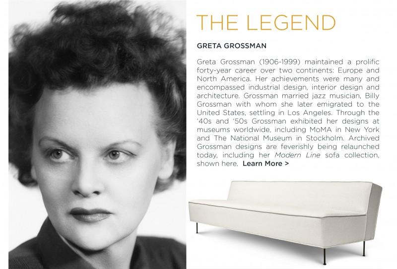 Greta Grossman women in design modern line sofa gubi white modern couch danish design