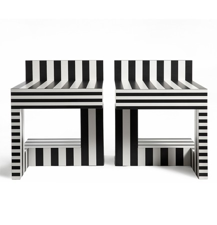 Kelly Behun neo laminati table 69 black and white modern stripe laminate pair of tables memphis style suiteny