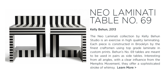 Kelly Behun neo laminati table 69 black and white modern stripe laminate table memphis style suiteny