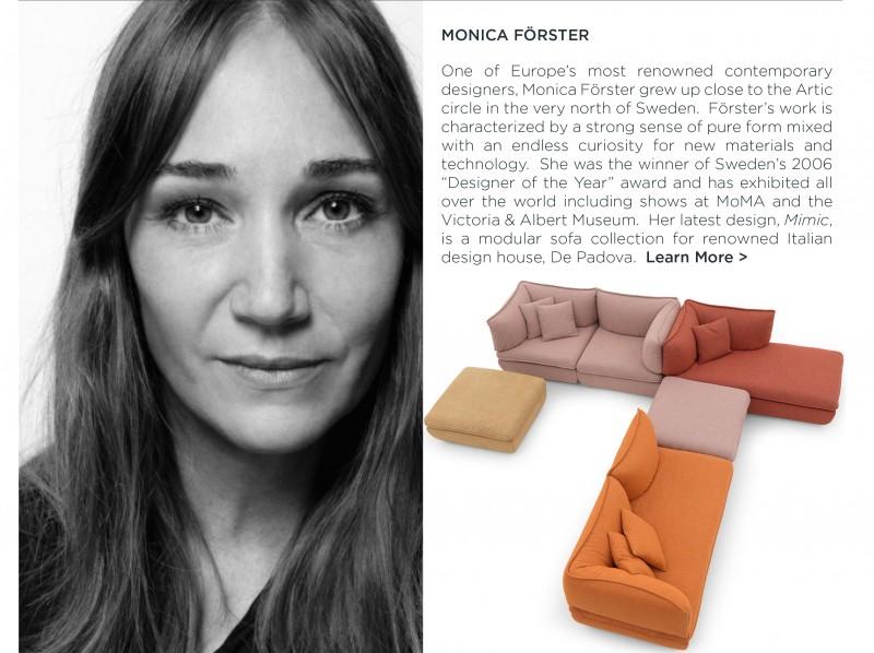 Monica Forster Mimic sofa depadova swedish designer women in design colorful modern sectional sofa