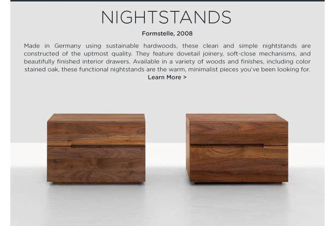 Zeitraum nightstands formstelle solid walnut hardwood modern minimalist end tables drawers
