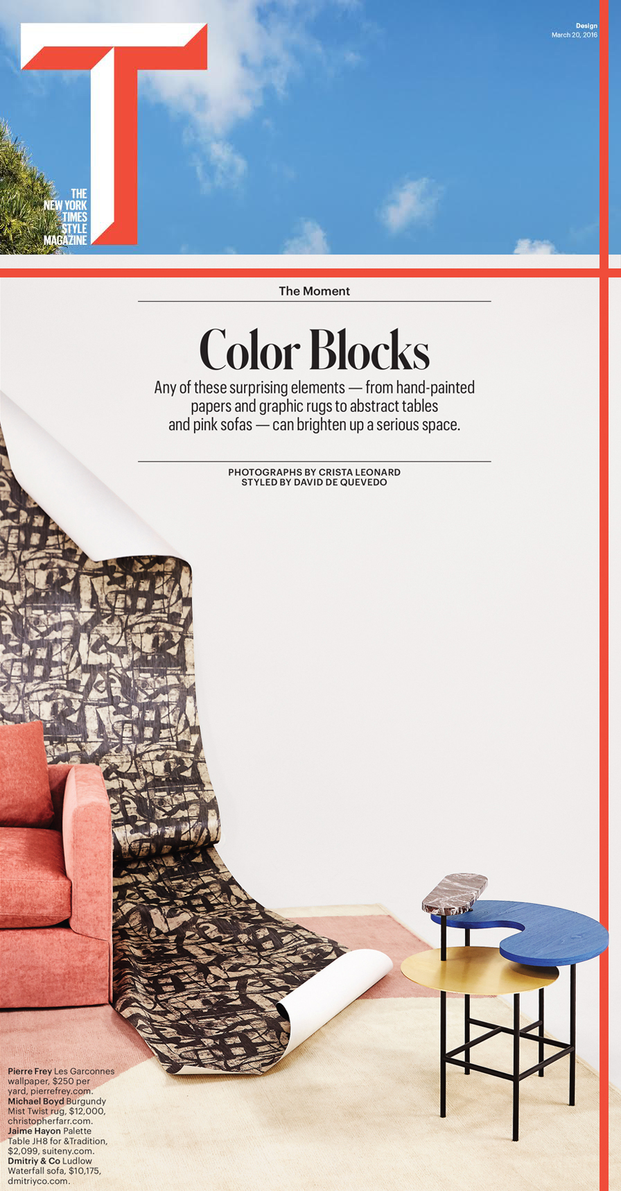 t magazine palette table jaime rayon brass red Rosso Levanto marble blue stained oak