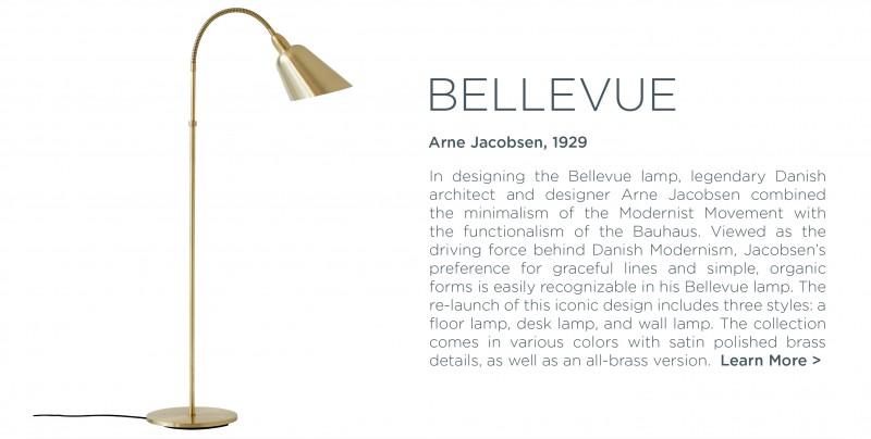 Bellevue floor lamp Arne Jacobsen andtradition brass modern danish light