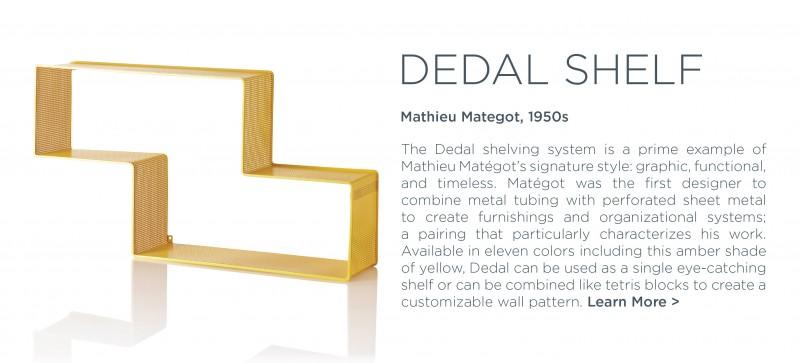 Dedal Shelf Mathieu Mategot GUBI yellow amber golden saffron storage organizational perforated metal wall system suiteny