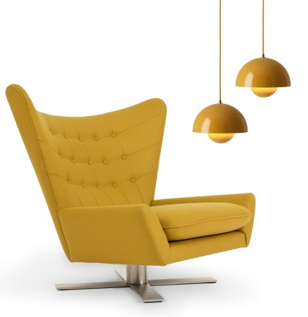 Louis chair Jeff Vioski verner panton flowerpot yellow saffron midcentury modern wing chair swivel golden yellow