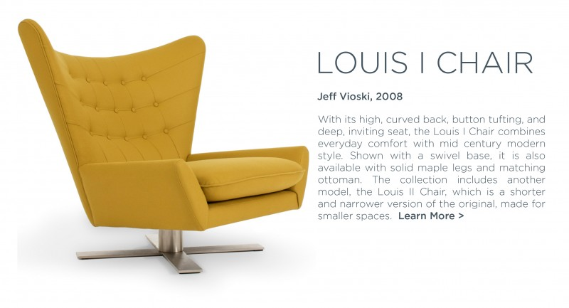 Louis chair Jeff Vioski yellow saffron midcentury modern wing chair swivel golden yellow