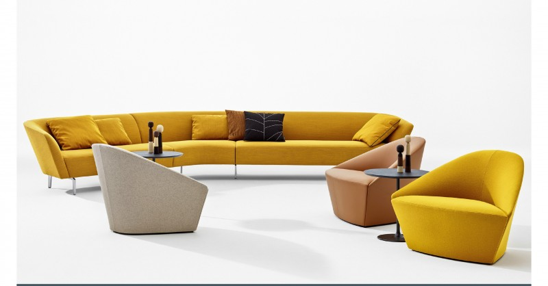 Mad about saffron modern furniture suiteny arper colina loop sofa lievore altherr molina golden yellow