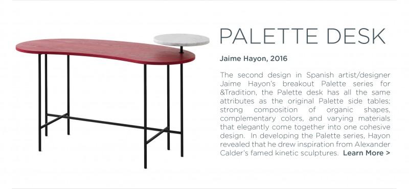 Palette desk Jaime Hayon Andtradition red ash white carrara marble modern office furniture