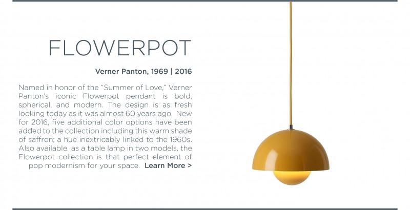 Verner Panton Flowerpot yellow pendant light andtradition 1960s lighting pop modernism