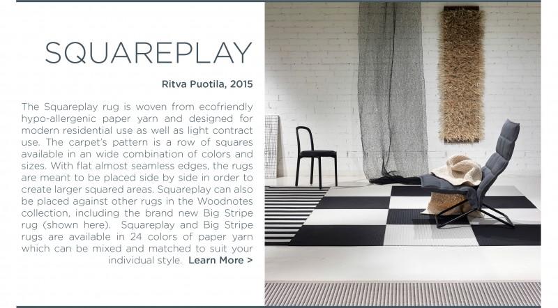 Woodnotes squareplay rug ecofriendly finland carpet paper yarn black white square modular rug system