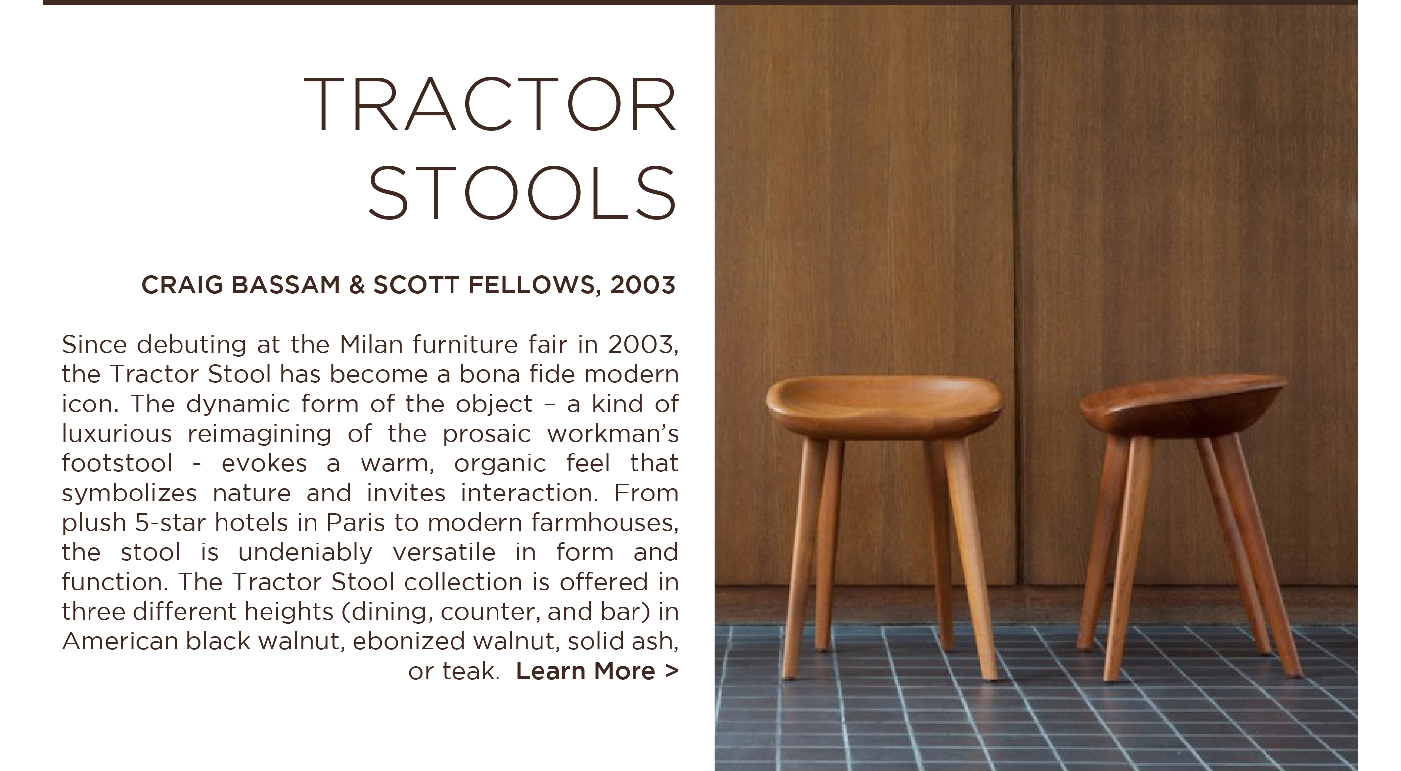CB Tractor stool bassamfellows craig scott walnut dining stools designer furniture suite ny