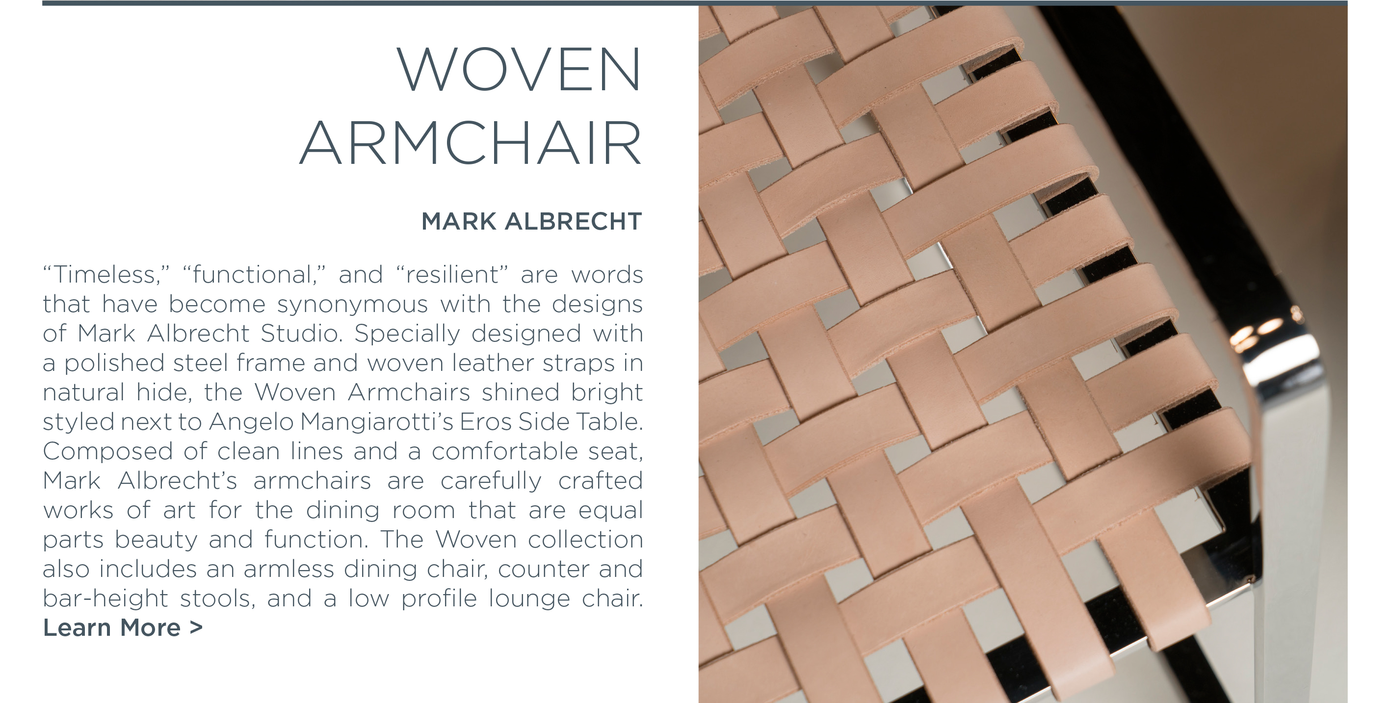 Icff 2016 Mark Albrecht studio woven leather polished steel armchair american made designer furniture suite ny