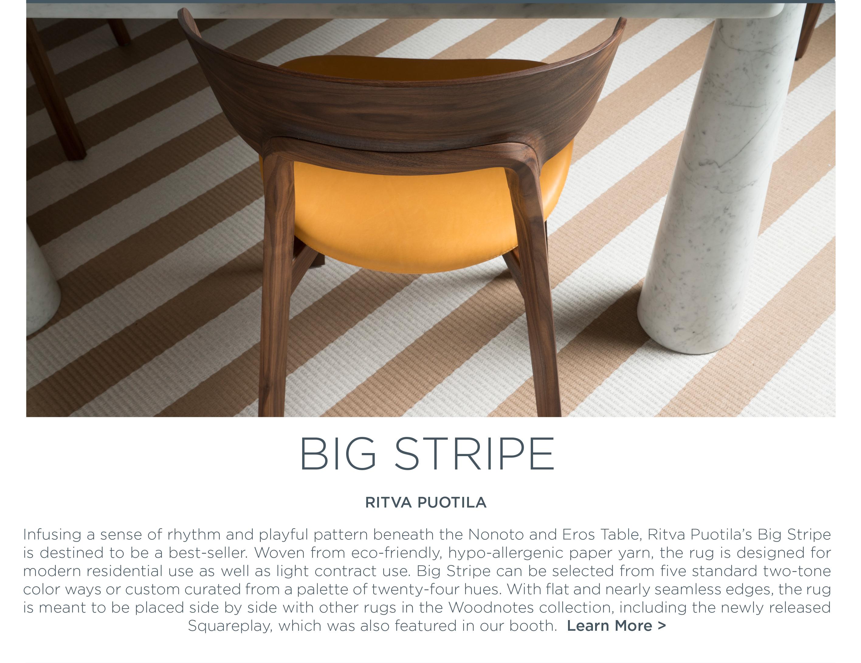 Icff 2016 big stripe rug ritva puotila woodnotes finnish eco friendly design suite ny new york