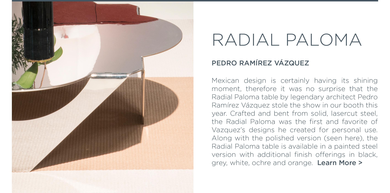 Icff 2016 radial paloma polished steel coffee table pedro ramirez vazquez mexican design suite ny new york