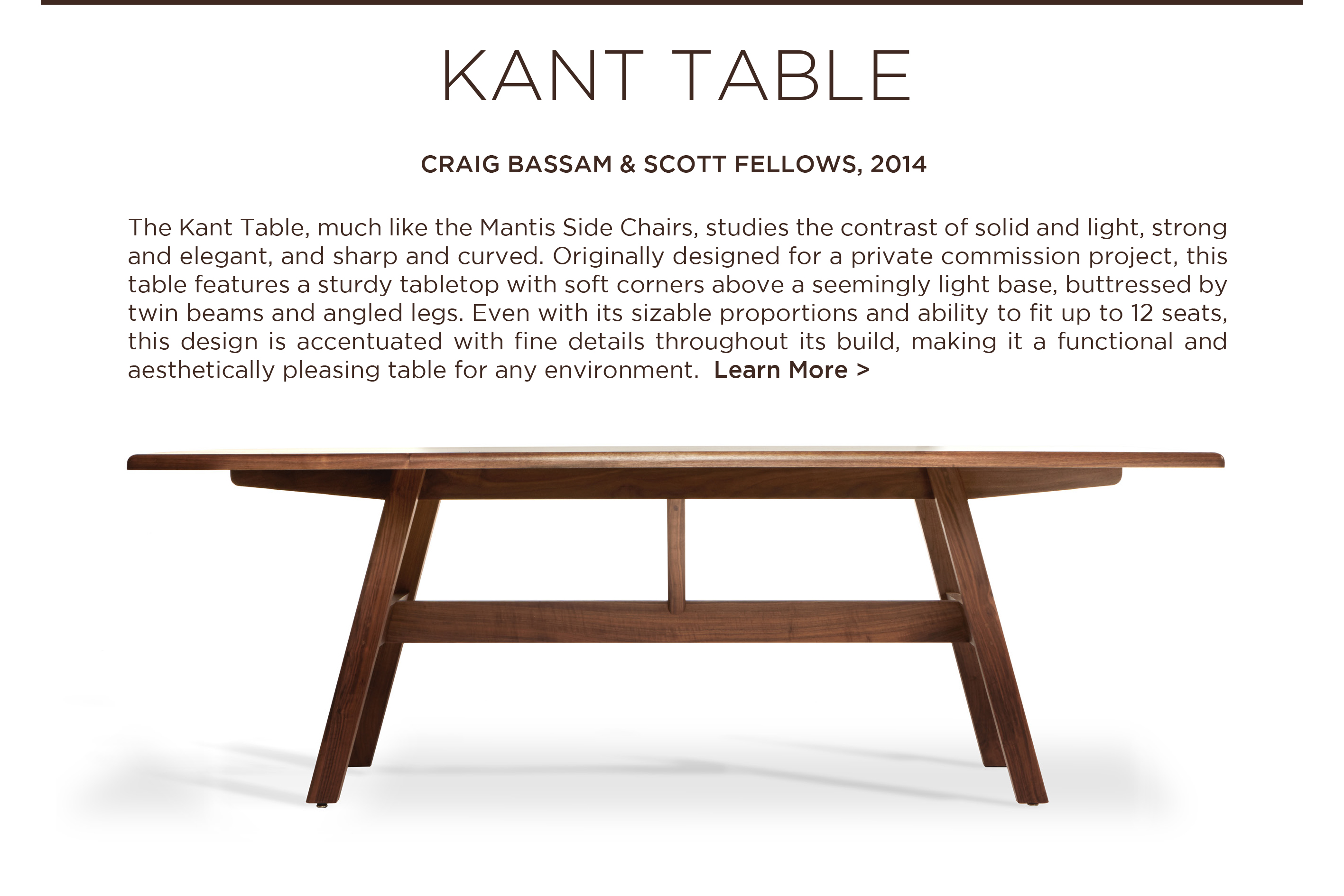 Kant table craig scott bassamfellows solid walnut dining table designer furniture suite ny