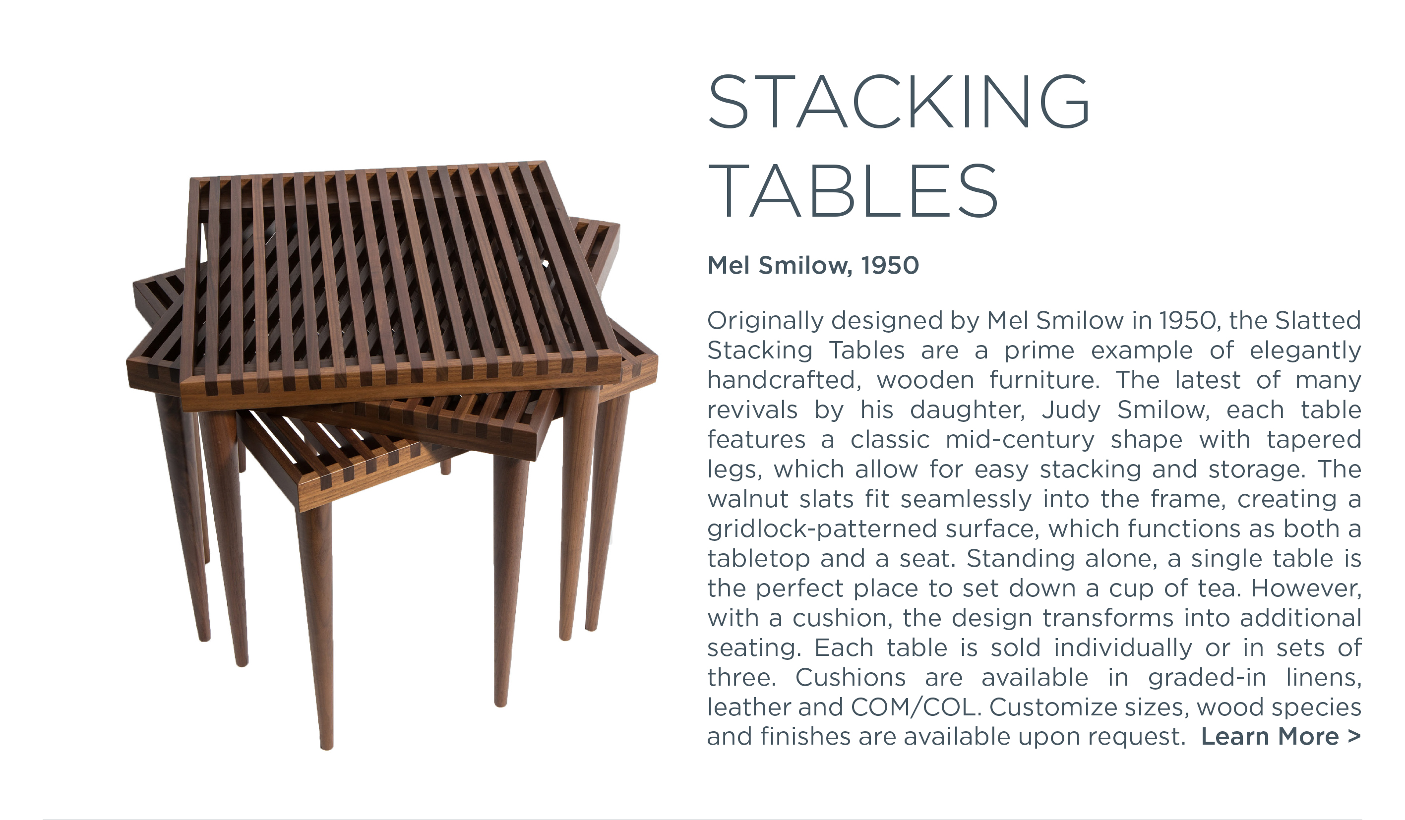 1 slatted stacking tables mel smilow suite ny