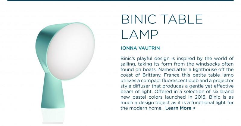 Binic table lamp foscarini ionna vautrin contemporary italian desinger lighting suite ny new york