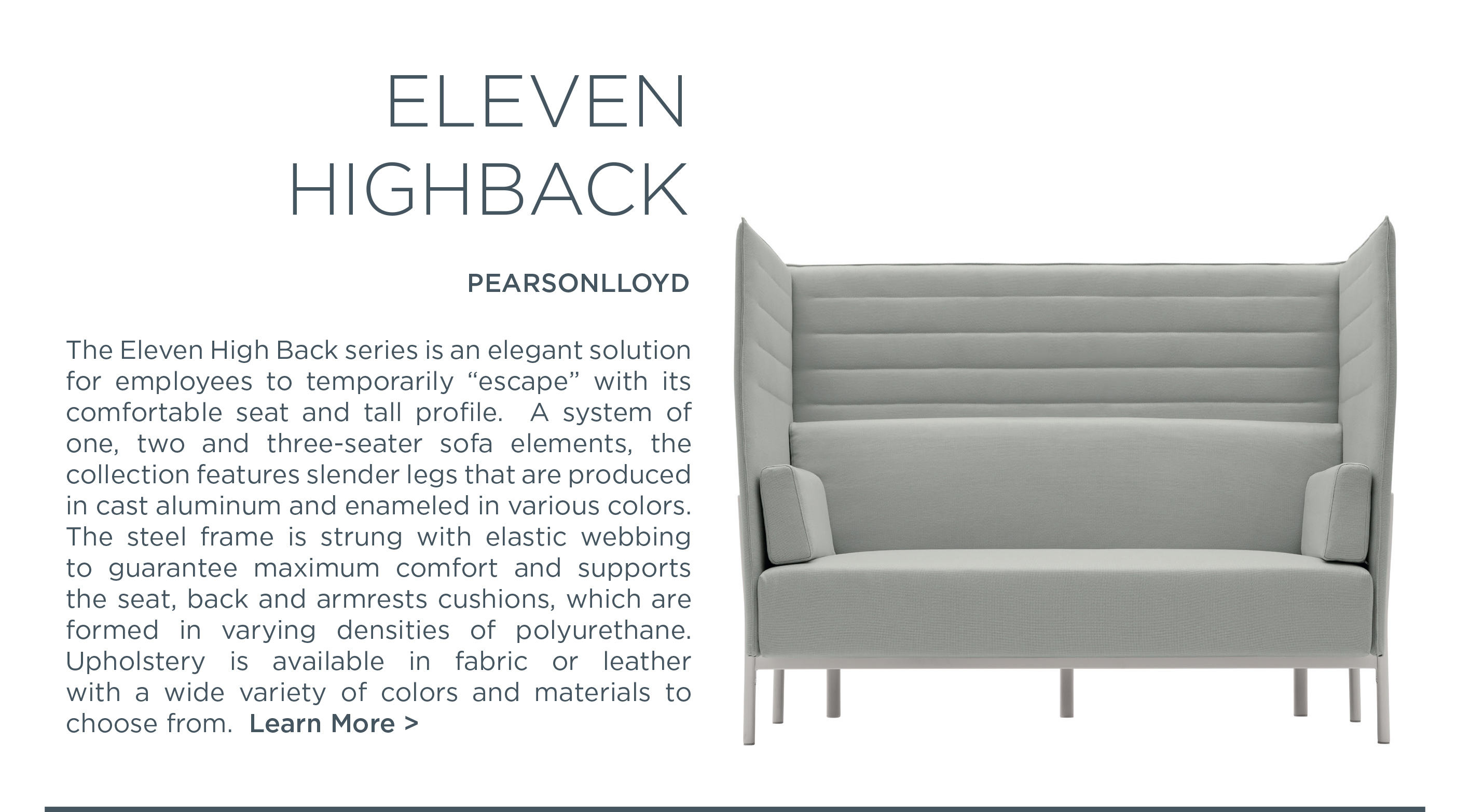 Eleven high back sofa series pearson lloyd alias suite ny suite new york