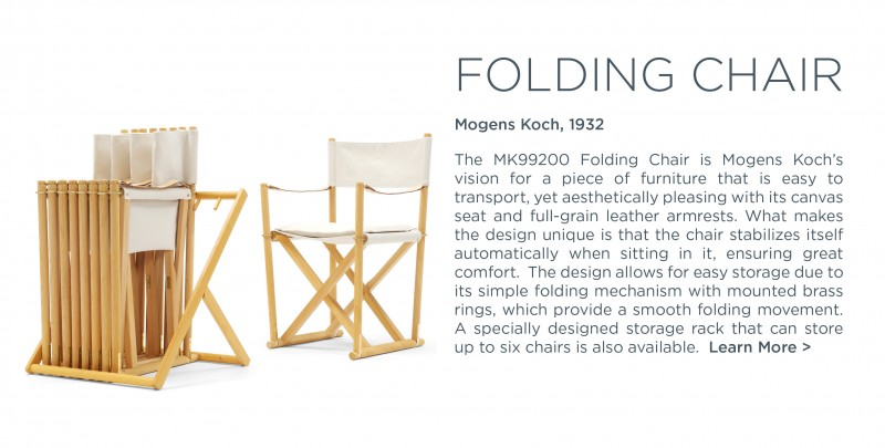 MK9900 Folding chair carl hansen and son mogens koch iconic campaign furniture suite ny suite new york