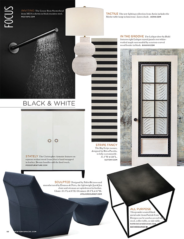 New York Spaces magazine black and white spring 2016 big strip rug woodnotes